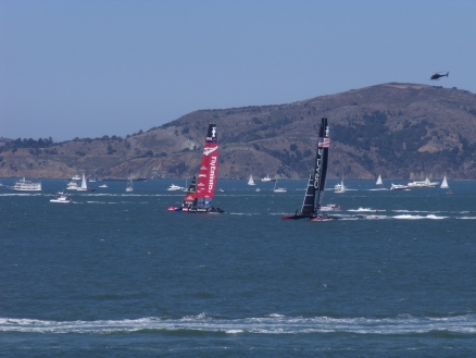 ETNZ and Oracle going at it from the shoreline in San Franscisco