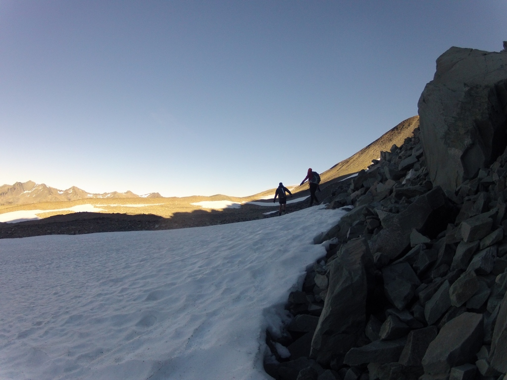 Crossing the little patch of snow at the top
