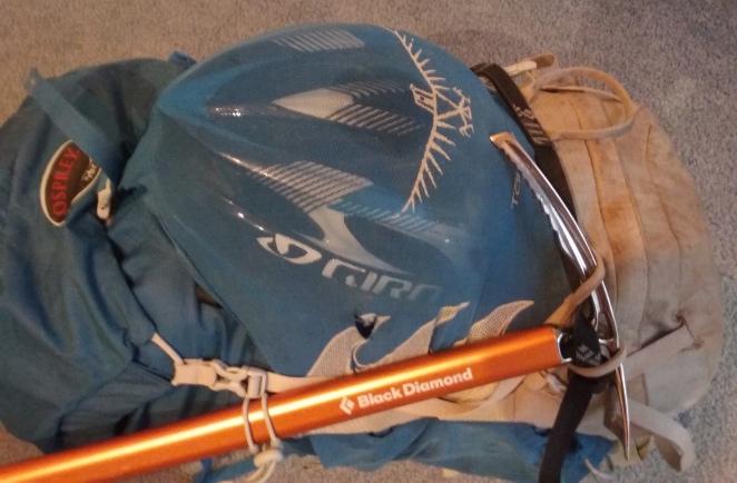 Ice Axe clipped on, Bike Helmet in the back stash pocket