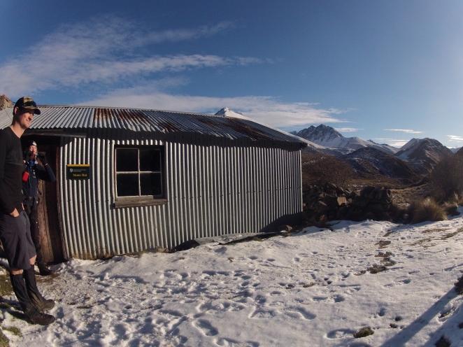 Leaving Stone hut in the sunshine