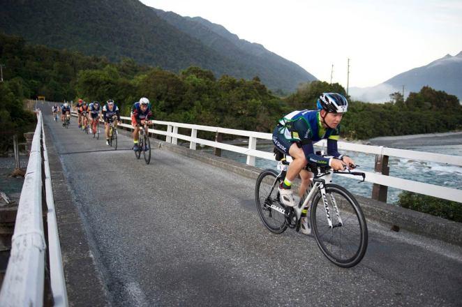 Leading the bunch across the bridge