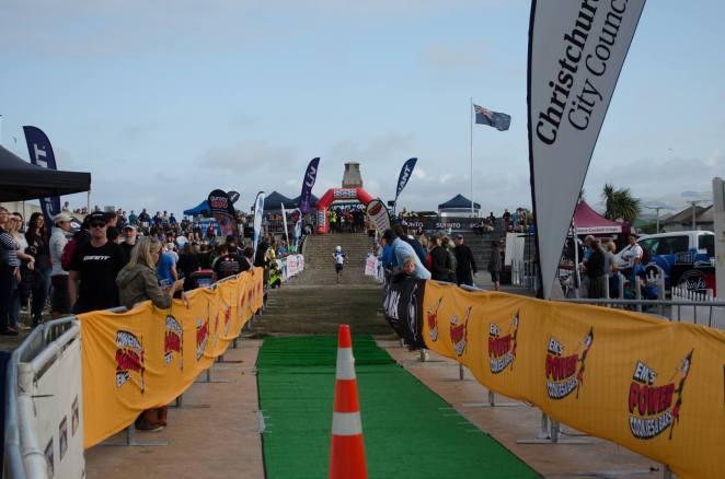 Up the finish chute