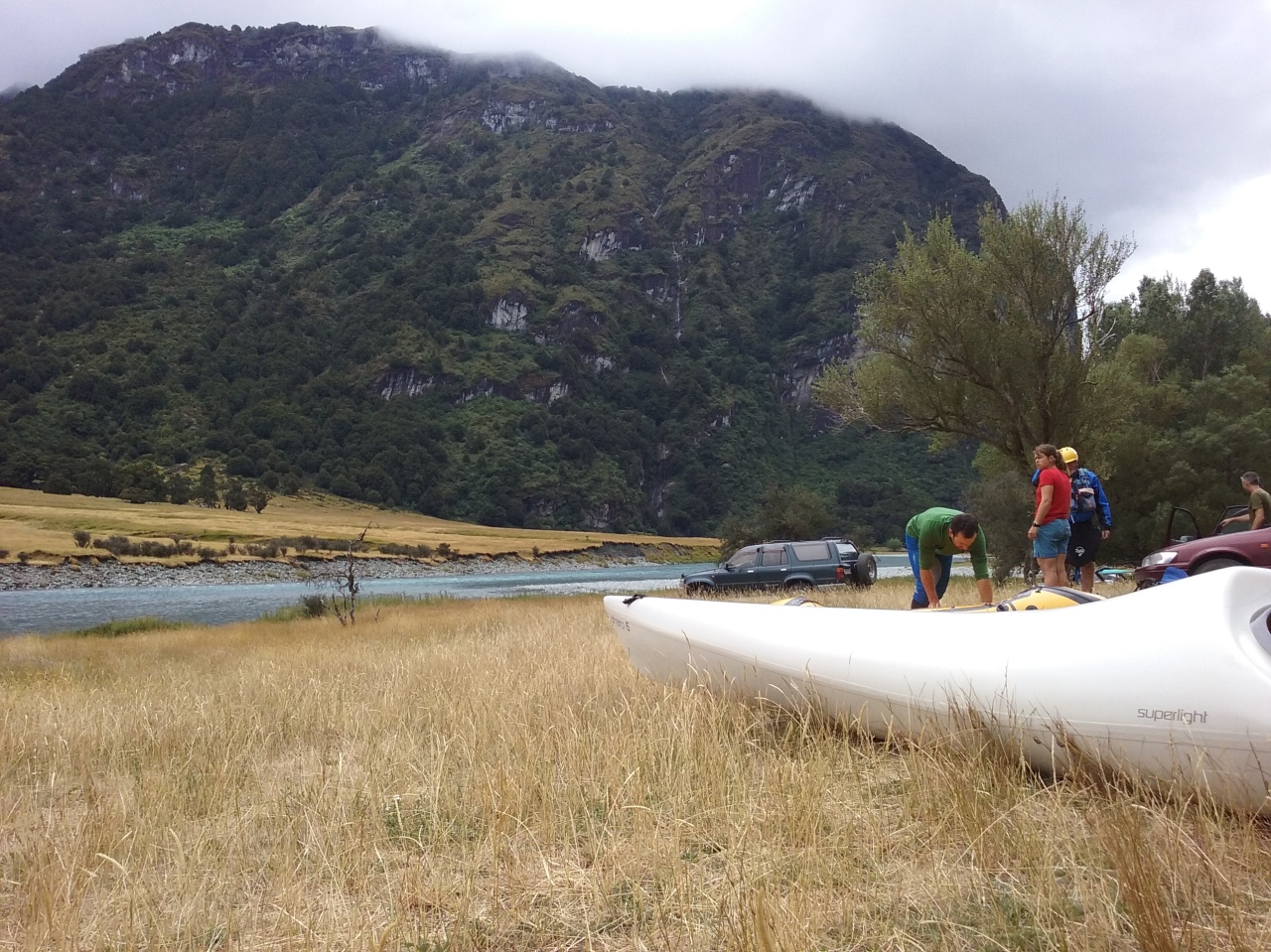 Preparing for the paddle down the Matukituki
