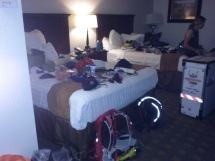 "Getting packed. The cleaners left us all a note... ""too many personal items on the bed to make them."""