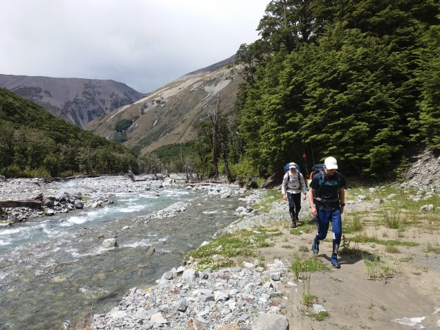 Making our way up the riverbed