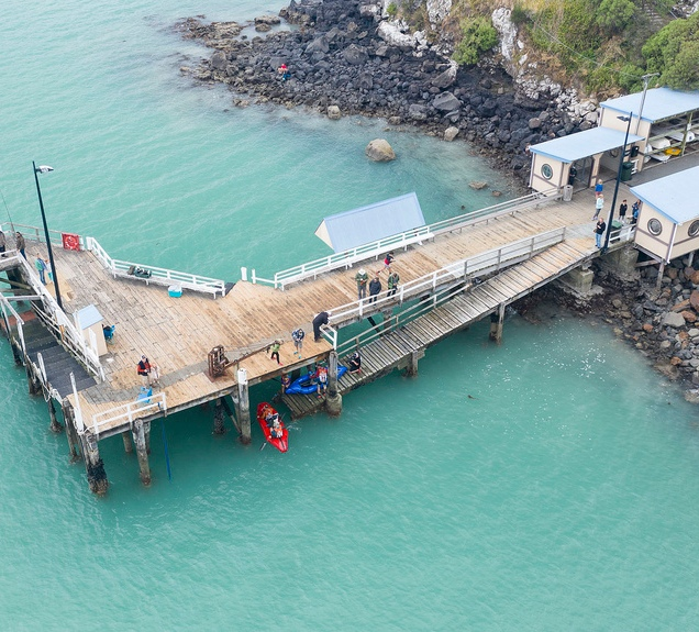 A view from above of us getting into the packrafts at Diamond Harbour