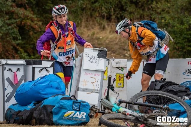 Anna and I sorting out bike boxes