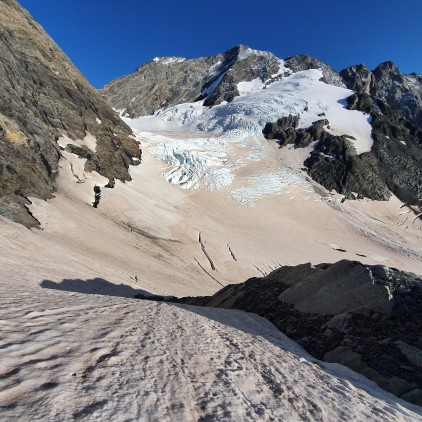 Heading into the top of the Muller Glacier