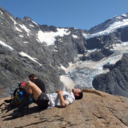 Taking a rest just before the next 400m of climb back to Muller hut