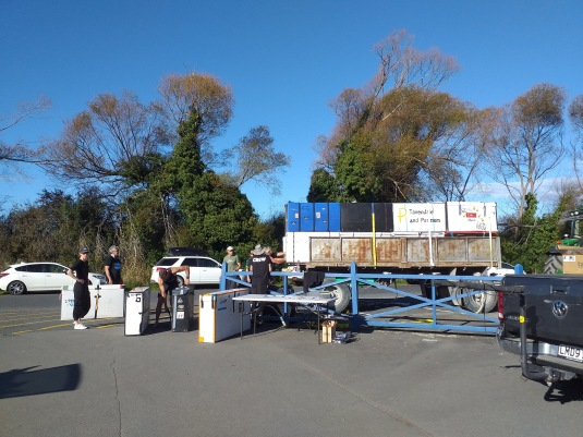 Loading up the bike trailer